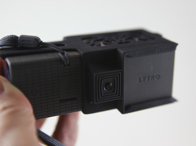 Lytro Tripod Bracket - 1 3d printed Lens cap storage on the bottom.