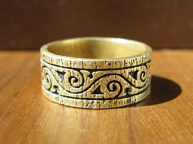 Weathered Wood Tribal Ring in Raw Brass