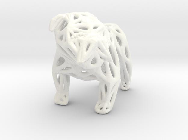 Voronoi Bulldog in White Strong & Flexible Polished