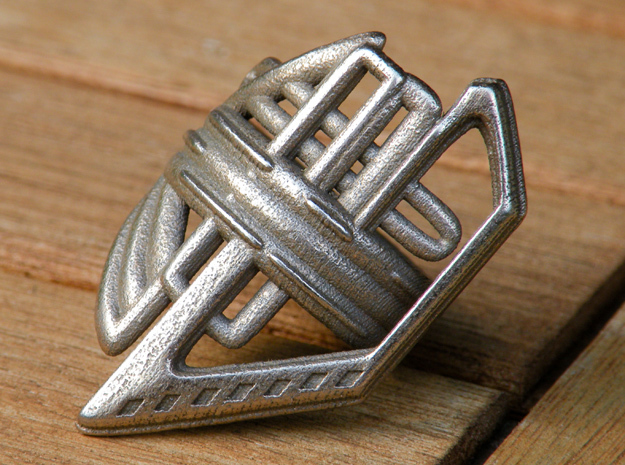 Balem's Ring2 - US-Size 3 (14.05 mm) in Polished Bronzed Silver Steel