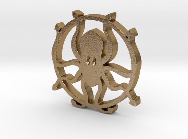 Kraken pendant in Polished Gold Steel