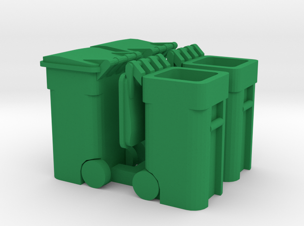 Trash Cart (4) Mixed 'O' 48:1 Scale in Green Processed Versatile Plastic