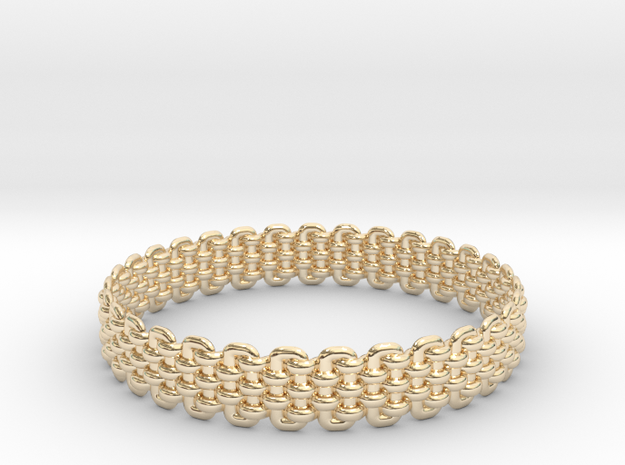 Wicker Pattern Bracelet Size 4 in 14k Gold Plated
