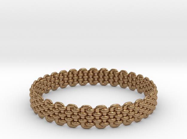 Wicker Pattern Bracelet Size 6 in Polished Brass