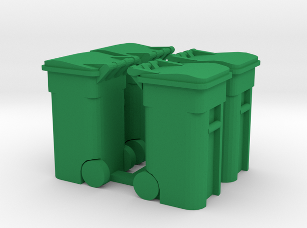 Trash Cart (4) Closed- 'O' 48:1 Scale in Green Processed Versatile Plastic