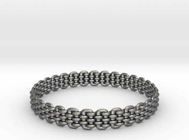 Wicker Pattern Bracelet Size 9 in Premium Silver