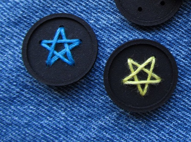 """1"""" five-holed buttons (two) in Blue Processed Versatile Plastic"""