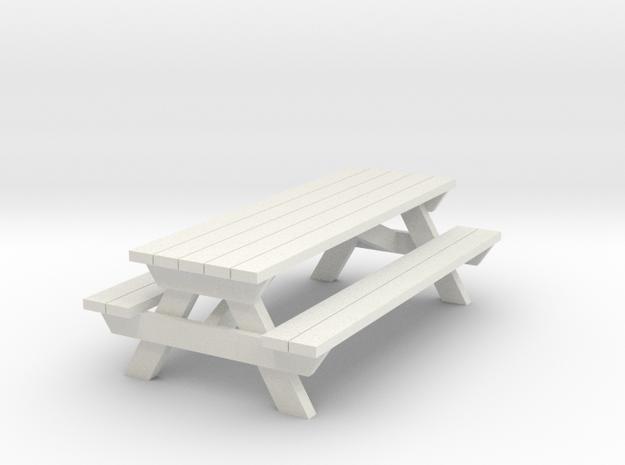 Picnic Table - 'O' 48:1 Scale in White Natural Versatile Plastic