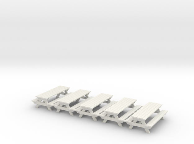 Picnic Table - 'O' 48:1 Scale (5) in White Natural Versatile Plastic