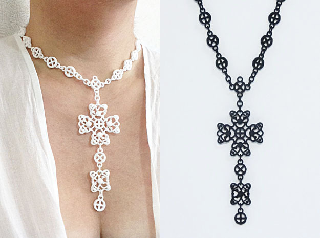 Gothic Cross Necklace Ⅰ in Black Strong & Flexible