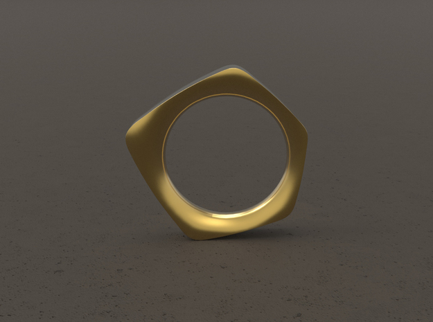 """FACET""_Women ring in Polished Gold Steel"