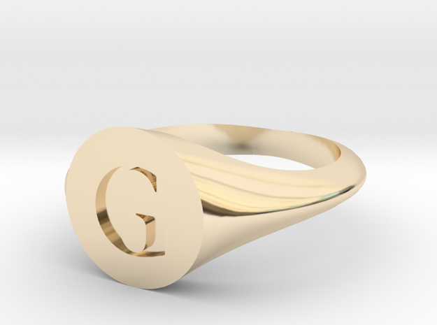 Letter G - Signet Ring Size 6 in 14k Gold Plated Brass
