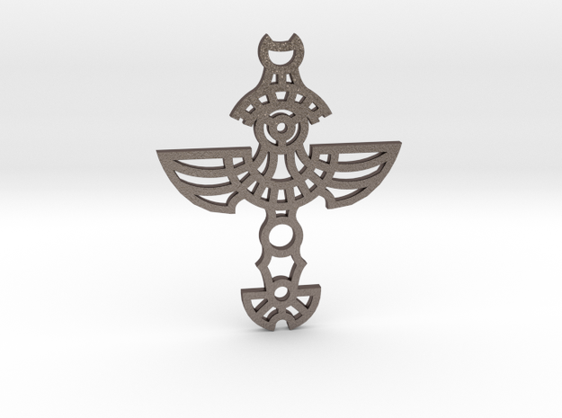 Winged Cross / Cruz Alada in Polished Bronzed Silver Steel