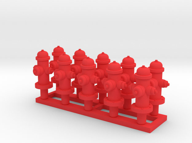 Fire Hydrant 'O' 48:1 Scale Qty (10) in Red Processed Versatile Plastic