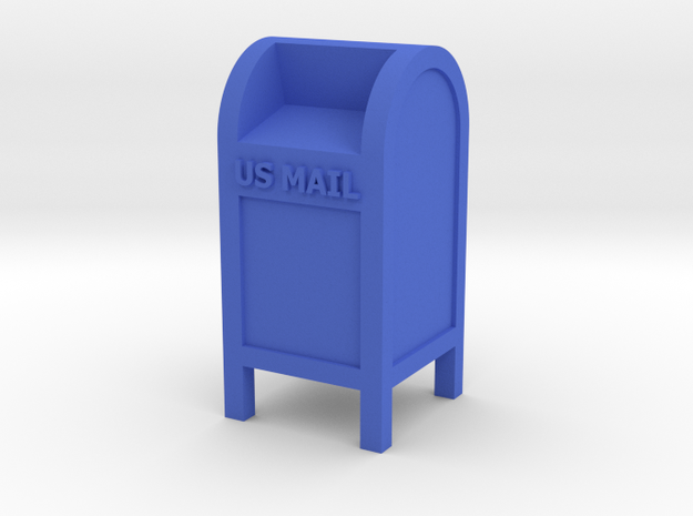 Mail Box - 'O' 48:1 Scale in Blue Processed Versatile Plastic