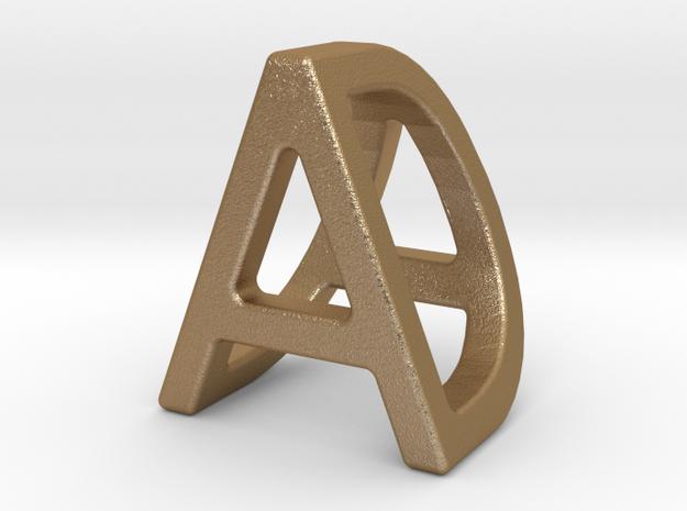 AD DA - Two way letter pendant in Matte Gold Steel