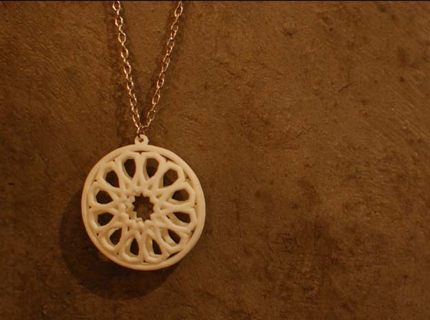 Islamic Inspired 3D Pendant in White Strong & Flexible Polished