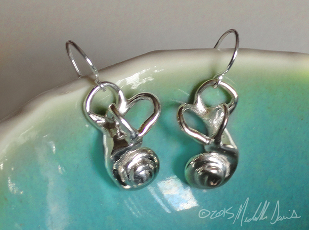 Inner Ear / Cochlea Earring Pair (left & right) in Polished Silver
