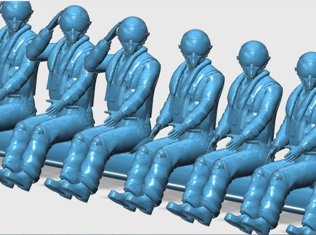144-H0060: 15 fighter pilots in 5 positions, scale in Smooth Fine Detail Plastic