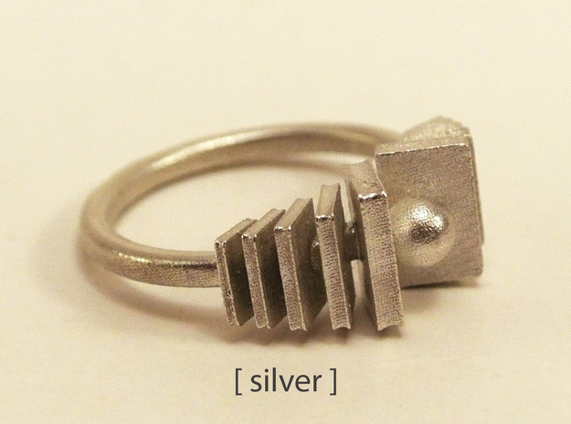 Bookworm ring in Polished Silver