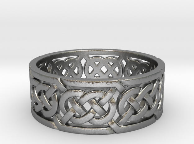 Celtic Double Knot Ring in Raw Silver
