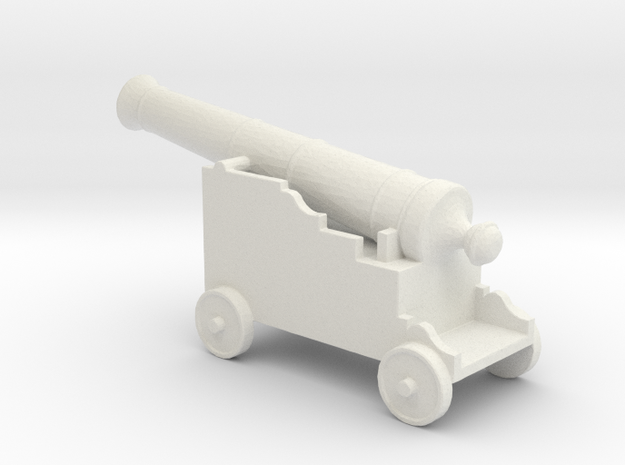 Miniature 1:48 Pirate Cannon in White Natural Versatile Plastic