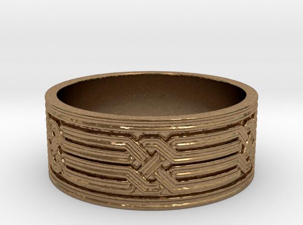 Diamond Geometric Knot Ring in Natural Brass