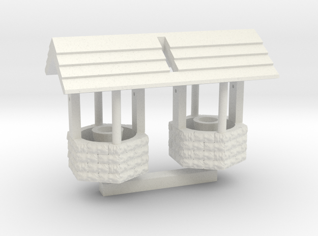 Wishing Well - qty (2) HO 87:1 Scale in White Natural Versatile Plastic