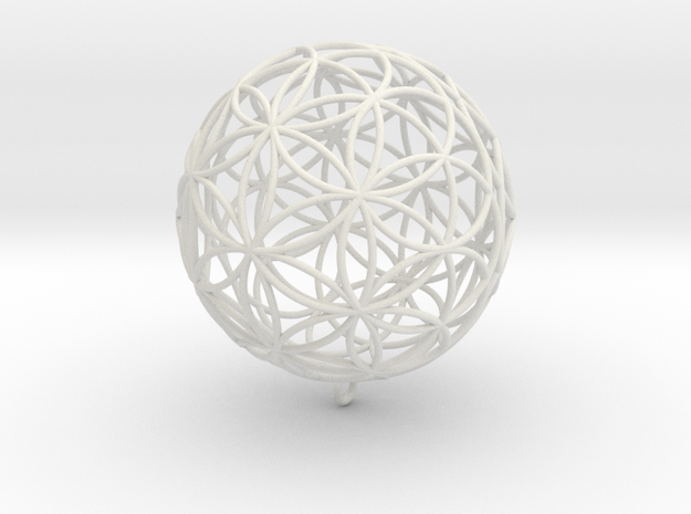 Pendant 45mm Flower Of Life  in White Strong & Flexible