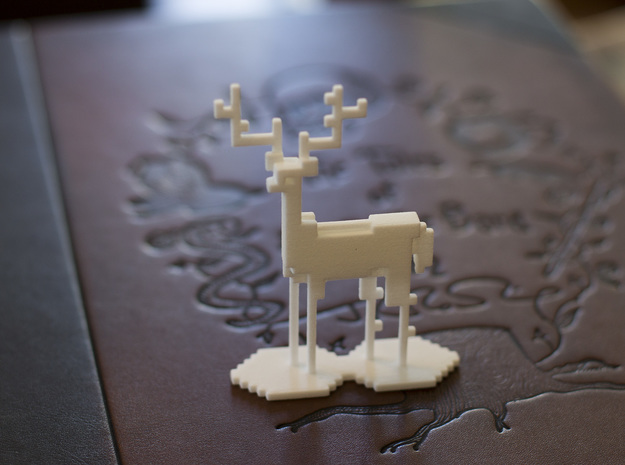 The Pixel Stag in White Natural Versatile Plastic