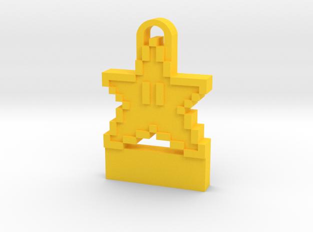 8-Bit Star Sprite Key Chain in Yellow Processed Versatile Plastic