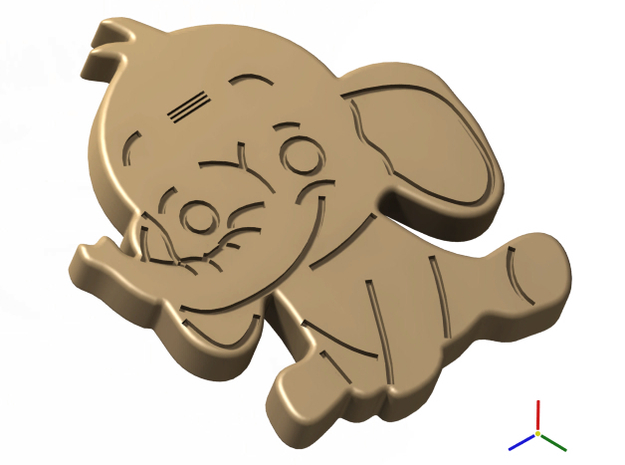 Cookie Cutter - Animal - Elephant in White Natural Versatile Plastic