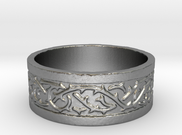 Thorns Over Stone Ring in Natural Silver