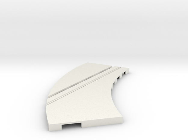 P-65stp-curve-lh-junction-inner-145r-75-pl-1a in White Natural Versatile Plastic