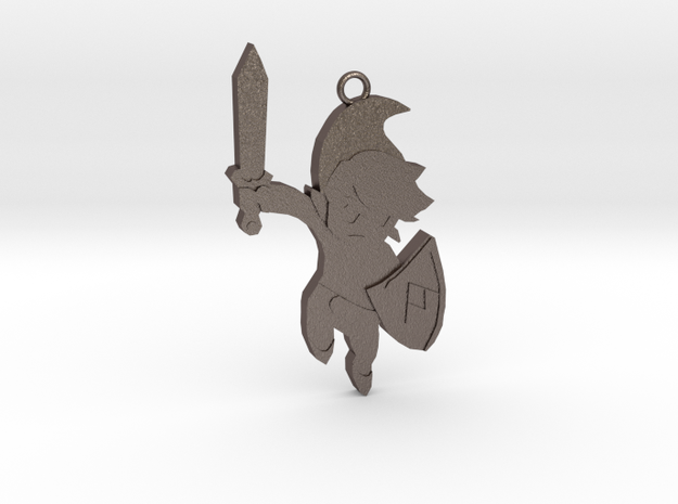 (no texture) Link KeyChain in Polished Bronzed Silver Steel