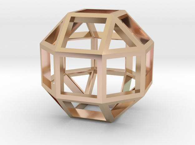 Rhombicuboctahedron Pendant in 14k Rose Gold Plated Brass