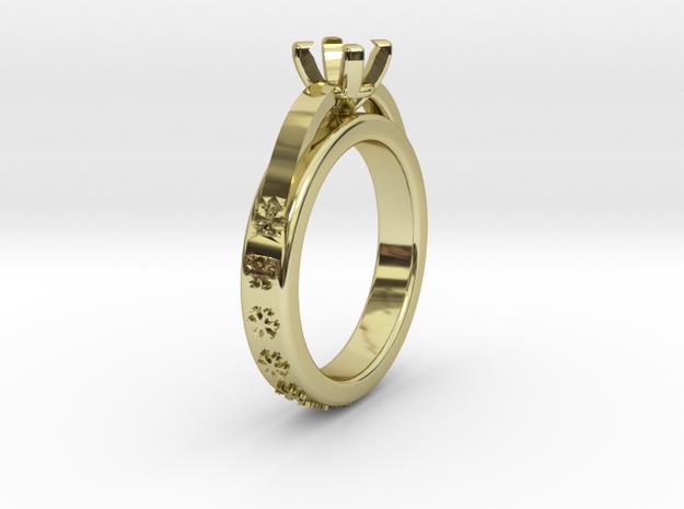 Ø0.630inch - Ø16 mm Diamond Ring Ø4.8 Round Diam.  in 18k Gold Plated Brass