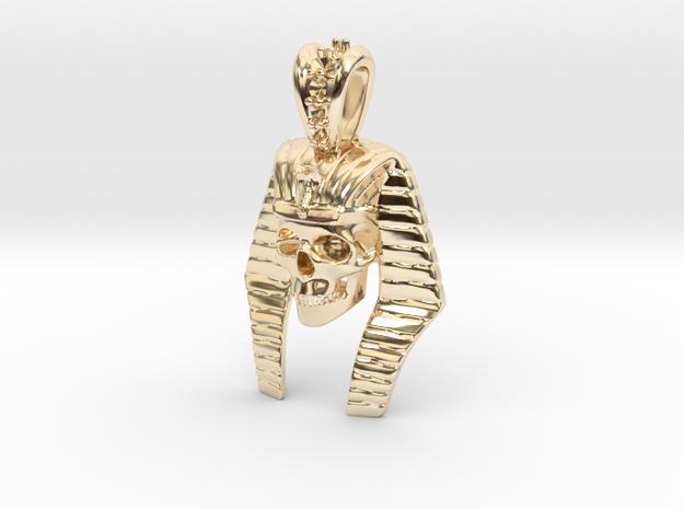 Pharaoh Skull Pendant in 14K Yellow Gold