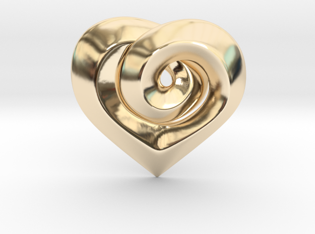 Twisted ☆ Heart Pendant  in 14k Gold Plated Brass