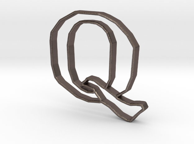 Typography Pendant Q in Polished Bronzed Silver Steel