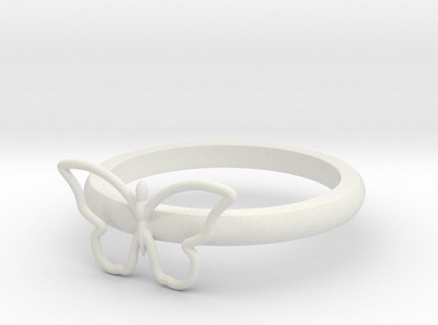 Butterfly Serviette Ring in White Natural Versatile Plastic