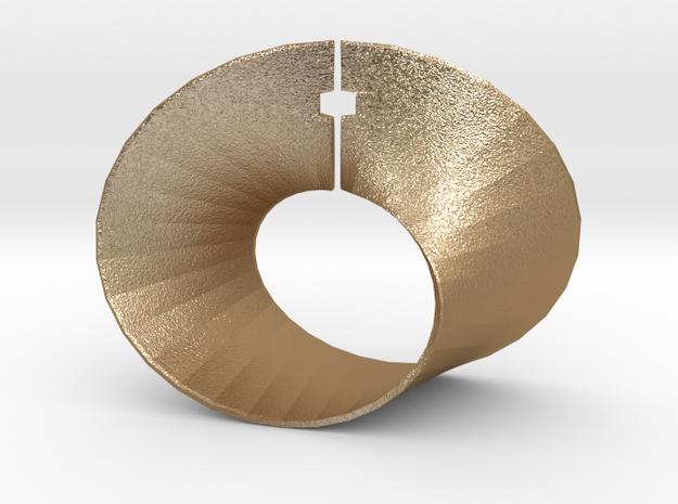 Mobius strip in Matte Gold Steel