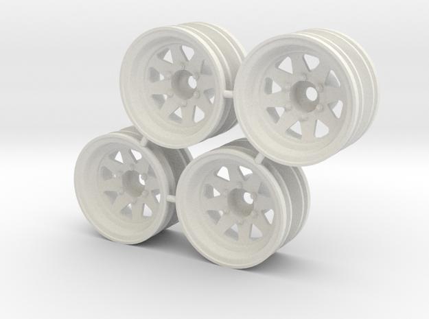 "Rim Wagon Wheel 1/8"" offset - Losi McRC/Trekker in White Strong & Flexible"