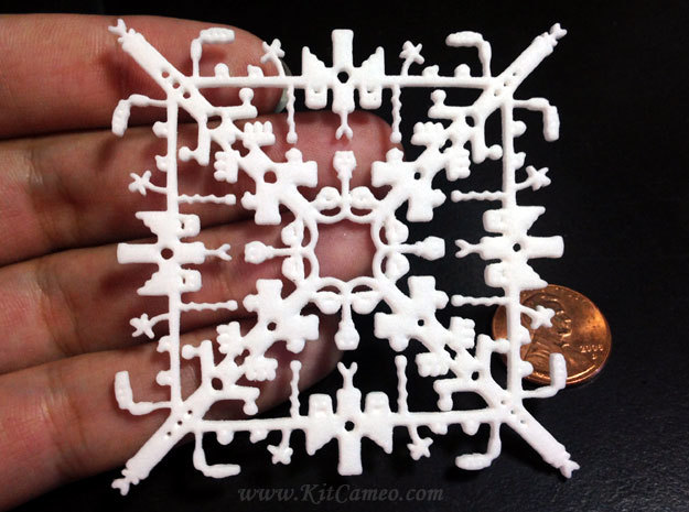 Super Mario Snowflake 2 in White Strong & Flexible Polished