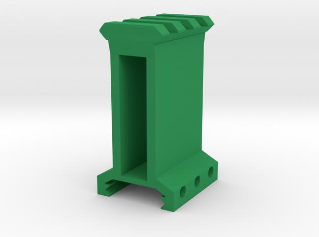 "2"" High 3 Slots Picatinny Riser in Green Processed Versatile Plastic"