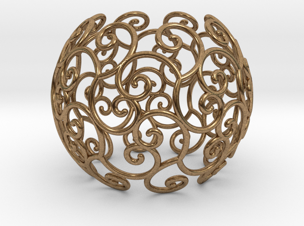 Triskel celtic sphere 1 (2,8) in Natural Brass