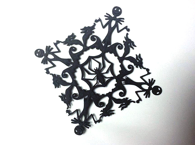 Nightmare Before Christmas Snowflake Coaster in Black Natural Versatile Plastic
