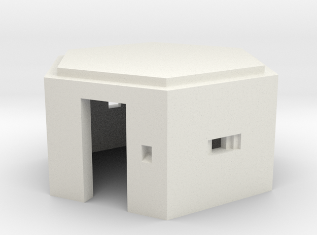 N Scale WWII Pillbox in White Natural Versatile Plastic