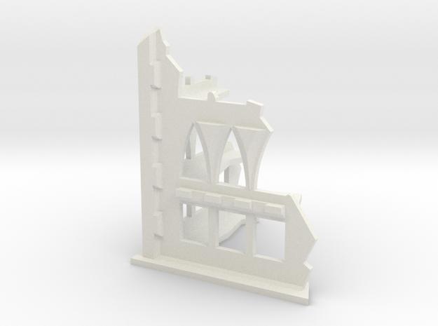 6mm Scale Gothic Corner Ruin in White Natural Versatile Plastic