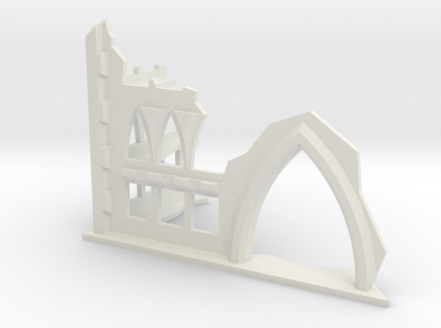 6mm Scale Gothic Ruin With Door Opening in White Natural Versatile Plastic
